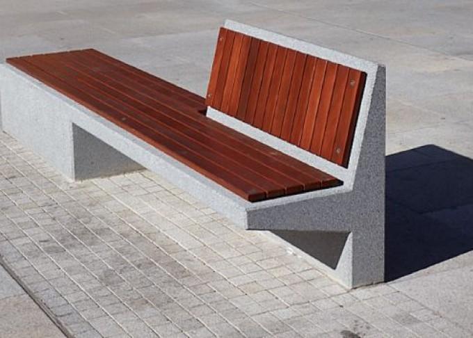 Mobiliario urbano de hormig n y madera for By h mobiliario